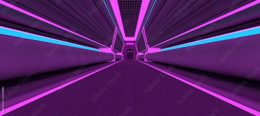 Futuristic neon corridor with blue and violet lights. 3D illustration. Wallpaper in a cyberpunk style. Retro futuristic scene in a style of 80's. <span>plik: #321303980 | autor: Valeriy</span>