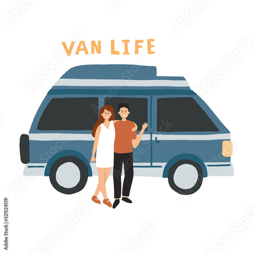 Couple living in a campervan Fototapeta