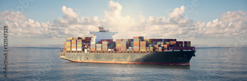 Fotografia Mighty container ships in ocean at sunrise underway performing import and export marine cargo transportation