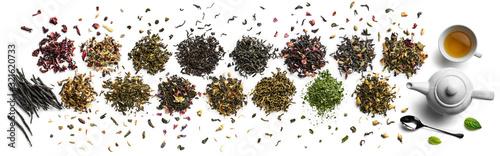 Fotografie, Obraz Large assortment of tea on a white background