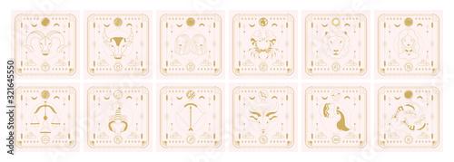 Photo Set of zodiac signs icons