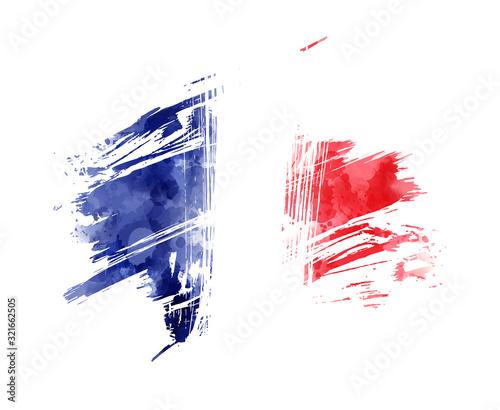 Fotografie, Tablou Abstract grunge flag of France