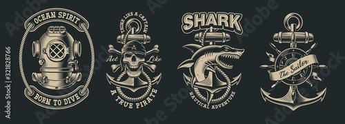 Set of vintage marine illustration with skull, shark, diver helmet