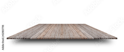 Foto Empty top of wooden table or counter isolated on white background