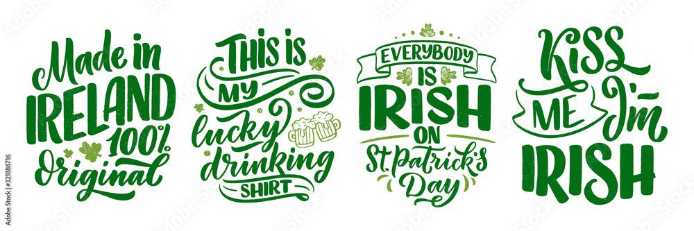 Zestaw z cytatami Świętego Patryka, szablon karty z pozdrowieniami typografii. Slogany z napisem do nadruku, t-shirt, świąteczny element projektu. Wektor <span>plik: #321886716 | autor: Artlana</span>