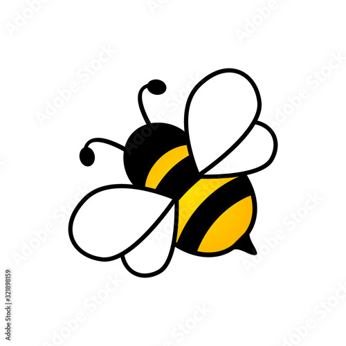 Canvas Print Lovely simple design of a yellow and black bee vector illustration on a white ba