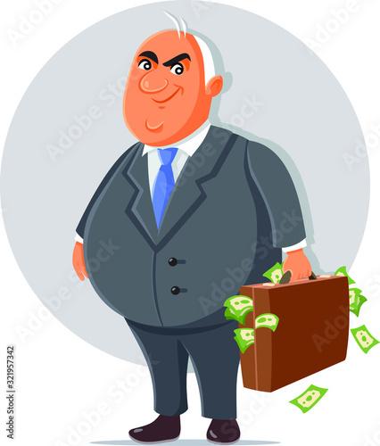Fotografia Corrupt Politician with Briefcase Full of Money Cartoon