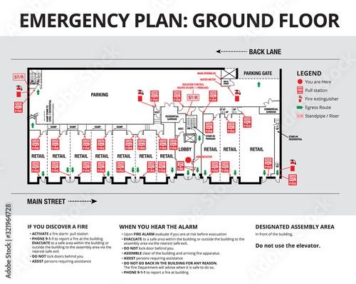 Emergency plan or egress plan Fototapeta