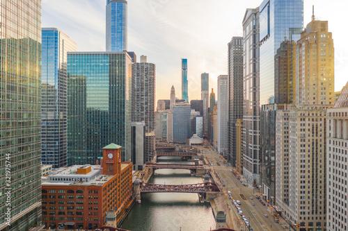 Fototapeta premium Panoramę powietrza w centrum Chicago