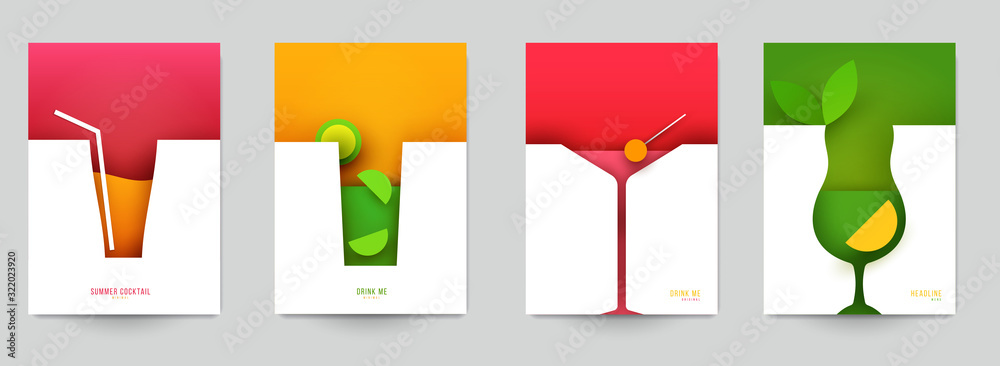 Set of abstract silhouette cocktails with alcohol or juice in minimalistic geometric flat style. Creative colorful composition. Concept for branding menu, cover, flyer, banner. Vector illustration. <span>plik: #322023920   autor: cgterminal</span>
