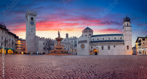 Trento, Italy. Panoramic cityscape image of historical city of Trento, Trentino, Italy during beautiful sunrise.