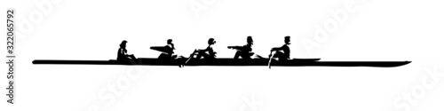 Obraz na plátně Rowing, team water sport. Isolated vector silhouette, ink drawing