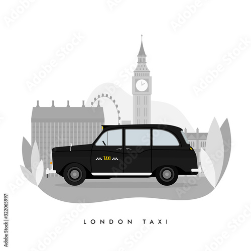 Fotografia Vector modern flat design web icon on commercial transport London classic black taxi cab, isolated, side view