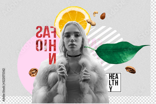 Hipster stylish fashion 20s teen girl vegan healthy food products on modern contemporary art collage, young woman wear faux fur posing on grey background trendy zine culture abstract creative artwork