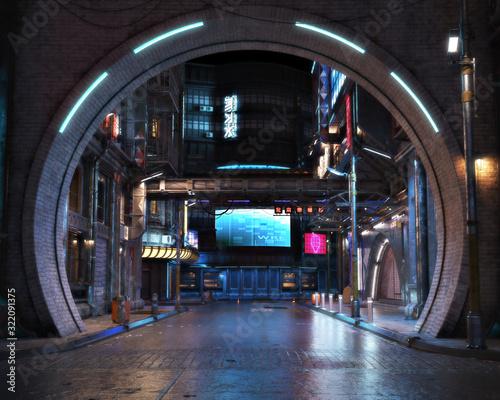 Fotografia Urban city retro futuristic arch back drop background with neon accents