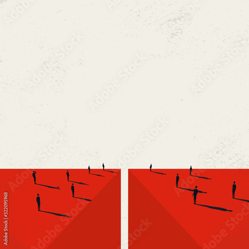 Fotografie, Obraz Divided society vector concept with crowds on opposite sides of abyss