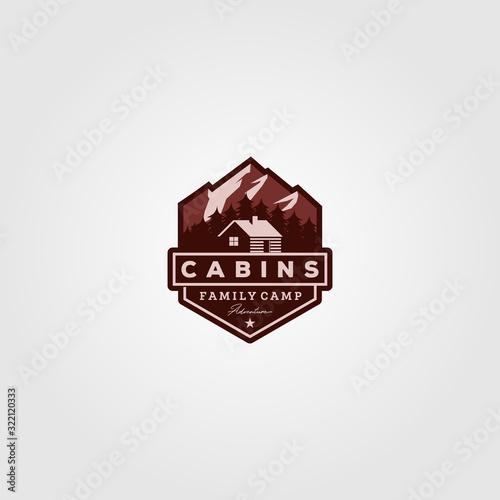 Valokuvatapetti vintage cabins logo vector illustration design