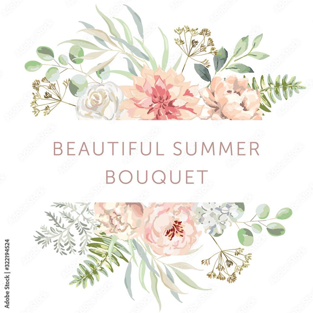 Delicate bouquet of blush pink dahlia, rose, peony flowers, forest green leaves, white background. Wedding invitation frame. Vector illustration. Floral arrangement. Design template greeting card <span>plik: #322194524 | autor: ojardin</span>