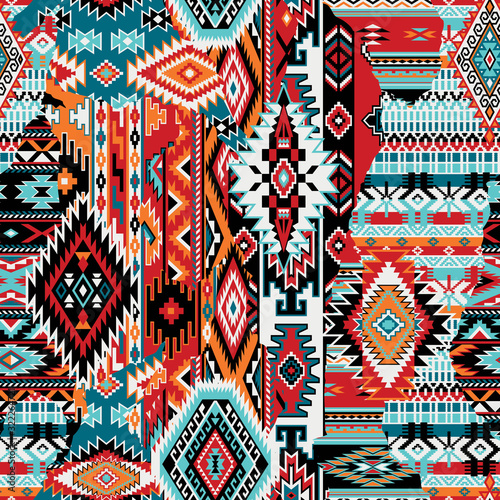 Obraz na plátně Native American fabric patchwork abstract vector seamless pattern wallpaper