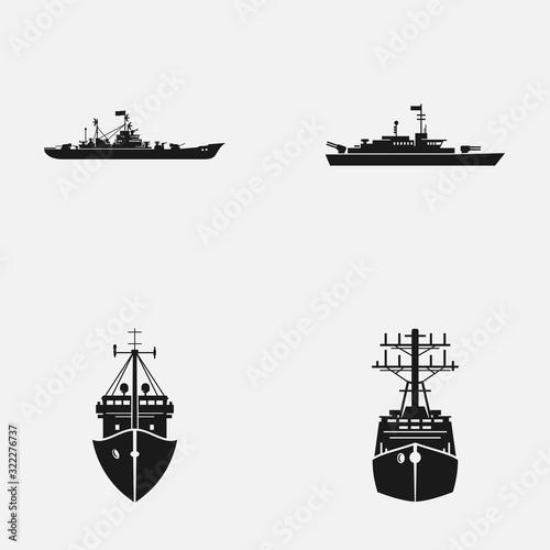 Wallpaper Mural Set of naval fleet elements flat vector icons.