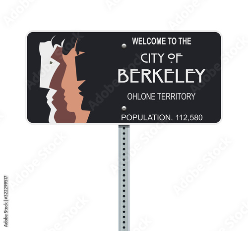Foto Vector illustration of the Welcome to the City of Berkeley black road sign