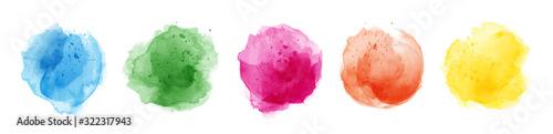 Set of watercolor circles multicolored