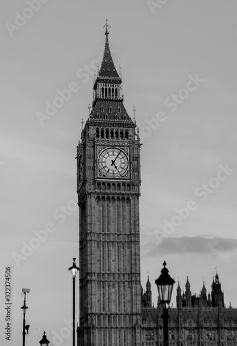 London, England, February 16th, 2017: Big Ben London City, Black and White