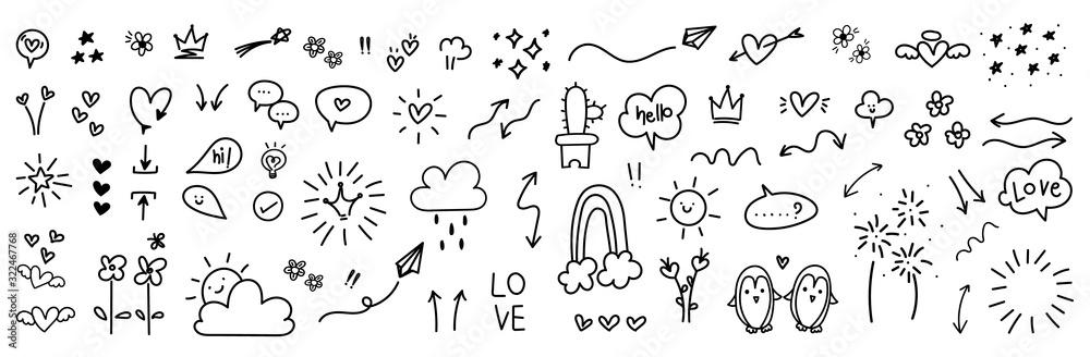 ładny ręcznie rysowane doodle wektor zestaw, miłość, naturalne, fajerwerk, chmura, pogoda, tęcza, śnieg, serce i kreatywny projekt wektor zbiory. <span>plik: #322467768 | autor: vectortwins</span>