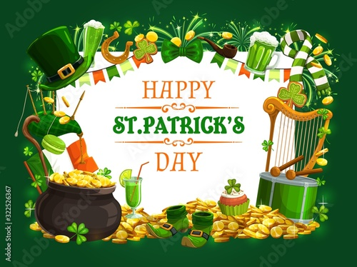 Fotografia St Patricks Day vector shamrock, leprechaun gold and hat, green beer, lucky hors