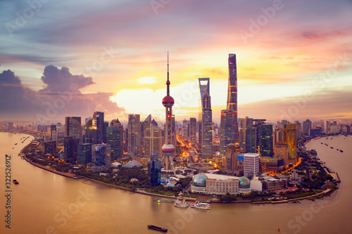 Canvas Print Sunset and  Cityscape of Shanghai,