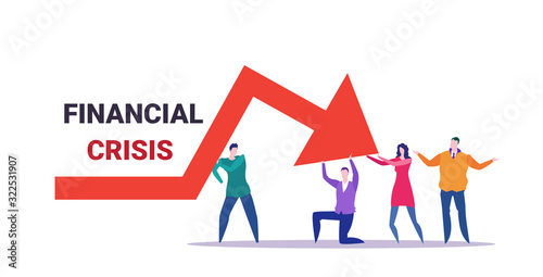 businesspeople team frustrated about economic arrow falling down financial crisi Fototapeta