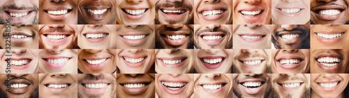 Photo Panoramic collage of multiethnic people white smiles