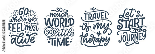 Fotografia Set with travel life style inspiration quotes, hand drawn lettering posters