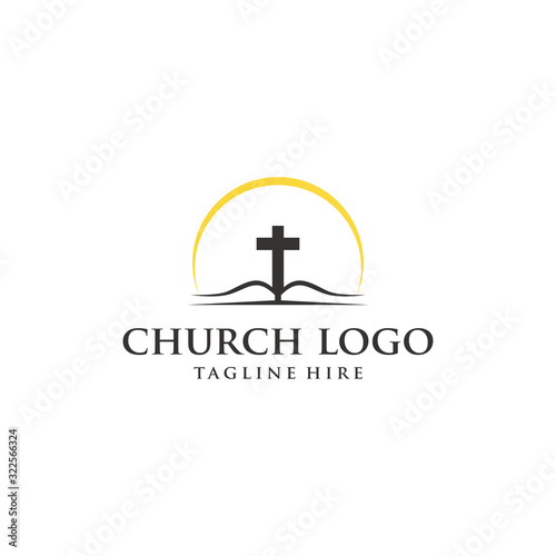 Leinwand Poster Church vector logo symbol graphic abstract template