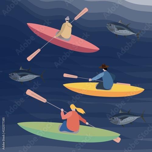 Slika na platnu set of kayaks and canoe