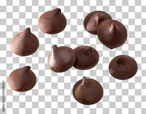 Obraz na plátně Chocolate chips morsels close up  on isolated background