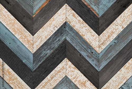 Fototapeta Vintage wooden wall with chevron pattern made of barn boards