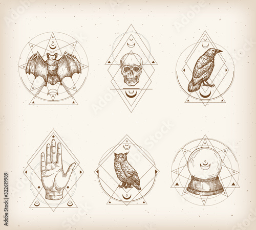 Tableau sur Toile Vintage Style Occultism Logos or Astrology Label Templates Set