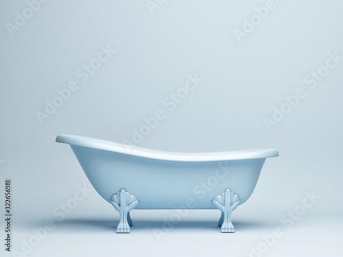 Mock up studio for product presentation, blue background bath tube, 3d render, 3 Fototapeta