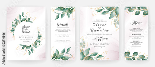 Stampa su Tela Wedding invitation card template set with watercolor gold leaves decoration
