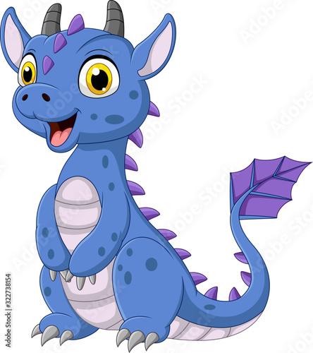 Obraz na plátně Cartoon blue dragon on white background