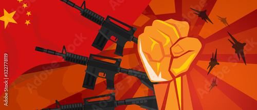 Fotografie, Obraz China Retro style of war propaganda hand fist strike with arm plane and flag