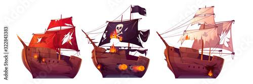Stampa su Tela Sea battle of wooden ships