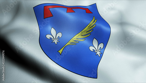 Photo 3D Waved France Coat of Arms Flag of Le Cannet