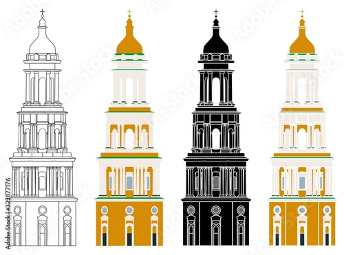 Foto Great Lavra Bell Tower in front view