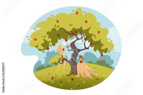 Canvas-taulu Adam and Eve, original sin, Bible concept