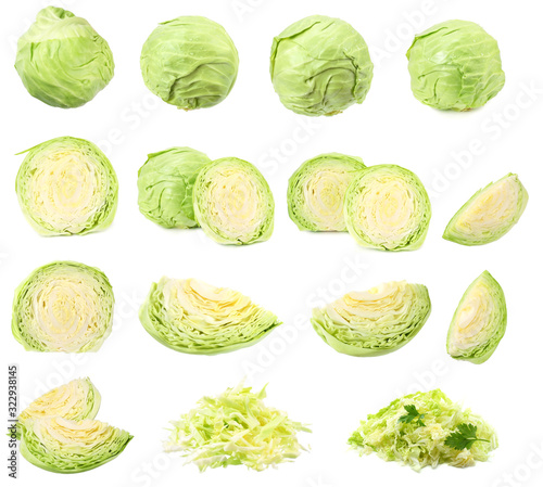 Leinwand Poster green cabbage isolated on white background. healthy food