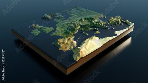 Obraz na płótnie Relief map of Europe - 3D render