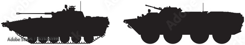 Fotografie, Obraz Army tank and military vehicle vector silhouettes set 1, infantry combat armored