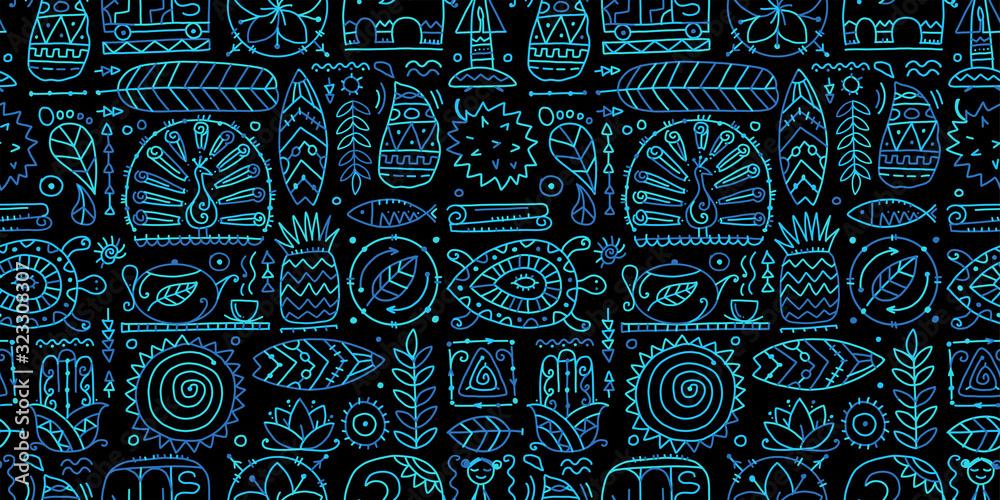 Sri Lanka art travel, tribal seamless pattern for your design <span>plik: #323308307   autor: Kudryashka</span>